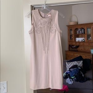Tan fitted dress with gold beading